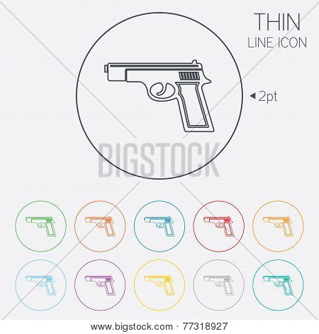 poster of Gun sign icon. Firearms weapon symbol. Thin line circle web icons with outline. Vector