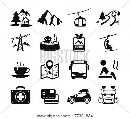 Mountain hotel icons