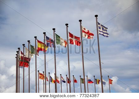 international flags against the sky