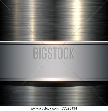 Background with metallic plate texture, polished metal , vector illustration.