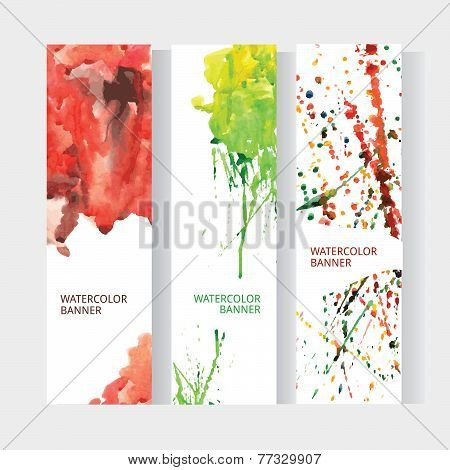 Vector Vertical Business Banner Set With Abstract Rainbow Watercolor Texture Background