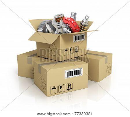 Auto Parts In The Cardbox. Automotive Basket Shop. Auto Parts Store.