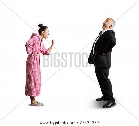 angry screaming woman showing fist laughing senior man. isolated on white background