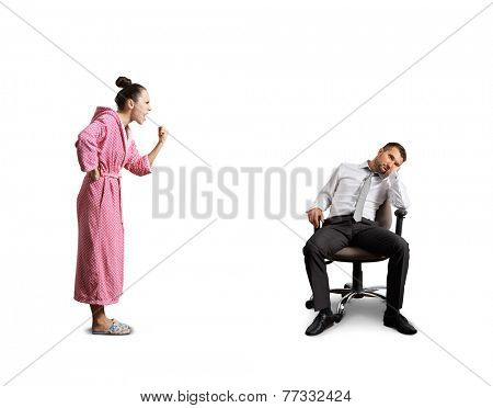 angry wife screaming at lazy husband. isolated on white background