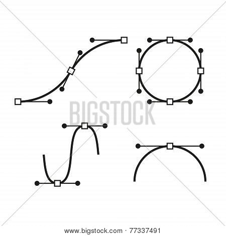 Bezier Curve Icons Set. Designer work tools. Vector