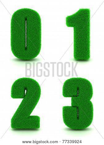 Digits 0, 1, 2, 3 of 3d Green Grass - Set.