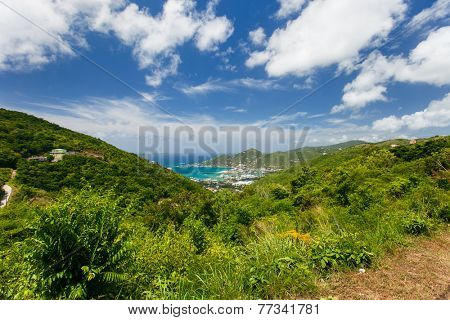 Aerial view of Road town on Tortola the capital of British Virgin islands