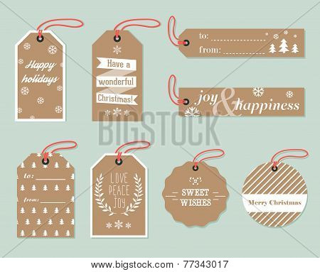 Collection of stylish New year and christmas gift tags