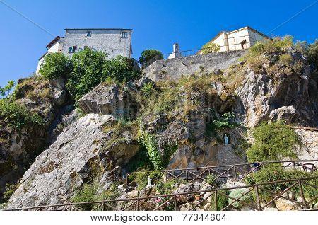 Panoramic view of Satriano di Lucania. Southern Italy.