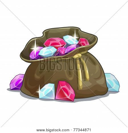 Bag with gems, cartoon illustration on the white background poster