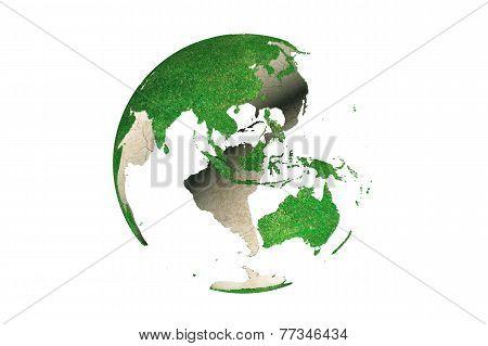 Abstract Green Grassy Earth Globe (asia)