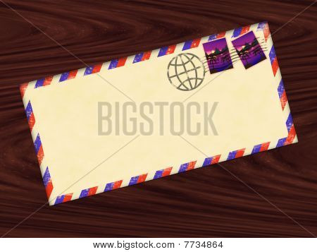Envelope With Stamps And Stamp