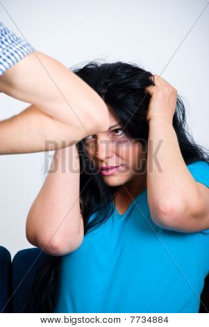 Scared Abused Woman