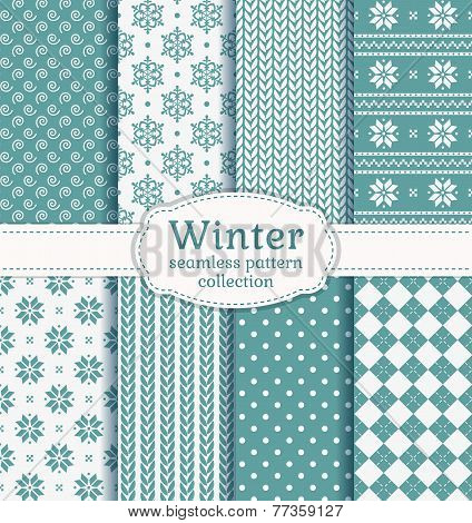 Winter Seamless Patterns. Vector Set.