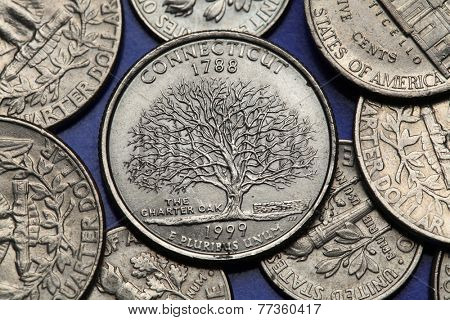 Coins of USA. Charter Oak depicted on the US Connecticut quarter (1999).