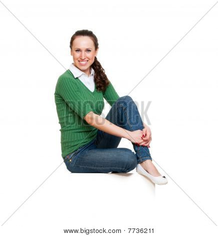 Woman Sitting On White Copyspace