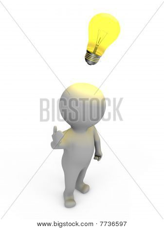A human has an idea - a 3d image