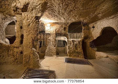 Derinkuyu cave city in Cappadocia Turkey