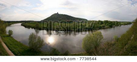Memorial Kaiser-Wilhelm-Denkmal and river Weser in Porta Westfalica, Germany