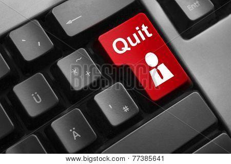 Dark Grey Keyboard Red Button Quit Job