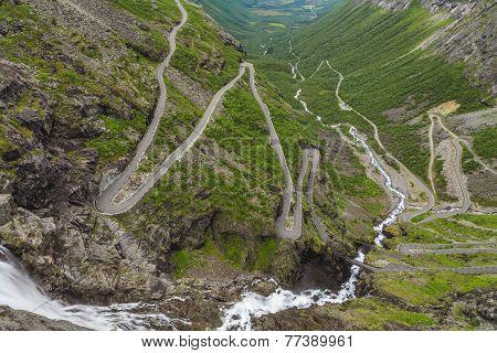 Trollstigen, Road Called The Troll's Footpath In Norway