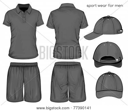 Men's black short sleeve t-shirt, sport shorts & baseball