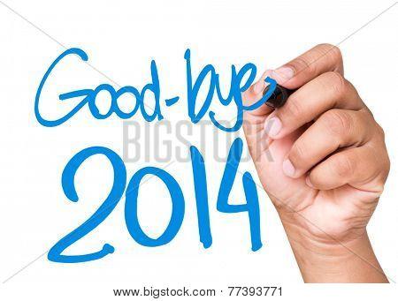 Good-Bye 2014 written on a transparent board