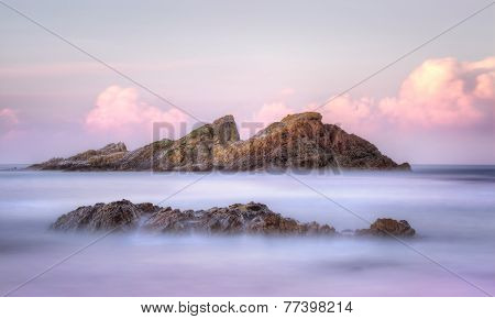 Statis Rock  Off Sugarloaf Bay Seal Rocks Nsw Australia At Sunset