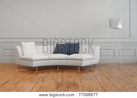 3D Rendering of Elegant White Sofa, with White and Gray Pillows, and Artistic Lamp Shade, on Empty Room with White Wall and Brown Wooden Floor.