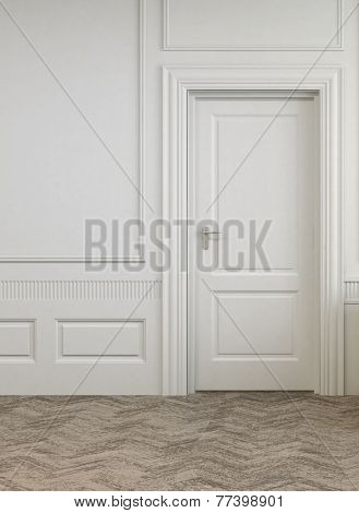 3D Rendering of Simple Single Door on White Architectural Empty Room with Abstract Design Flooring.