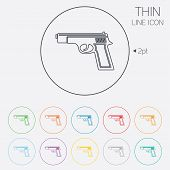 Gun sign icon. Firearms weapon symbol. Thin line circle web icons with outline. Vector poster