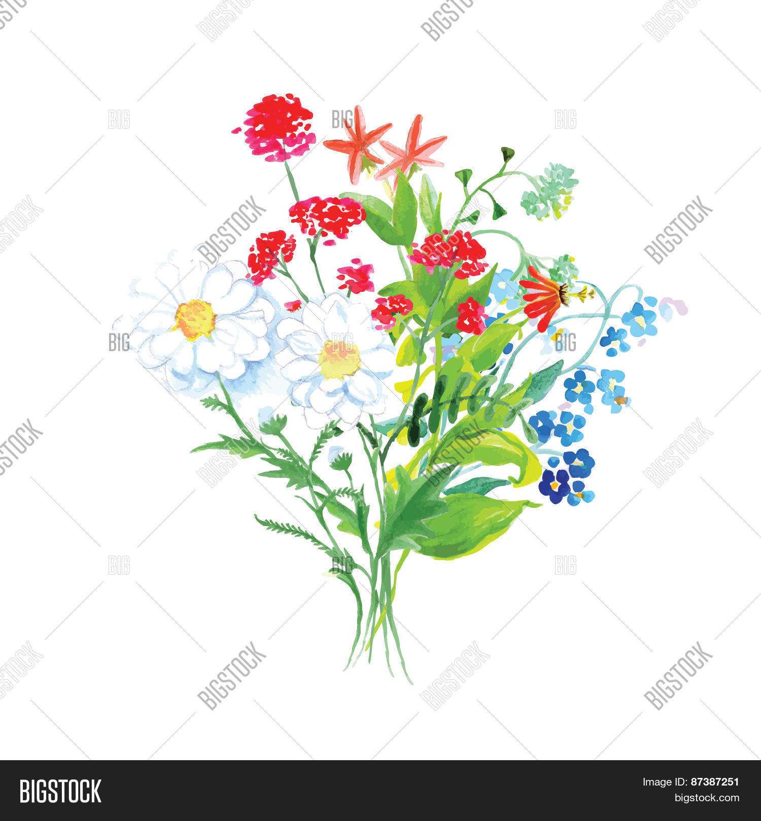 Wildflowers bouquet vector photo free trial bigstock wildflowers bouquet vector design set izmirmasajfo