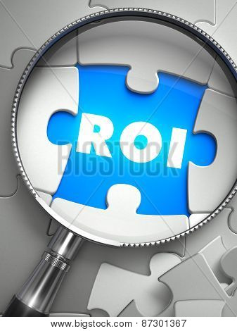 ROI - Word on the Place of Missing Puzzle Piece through Magnifier. Selective Focus. poster