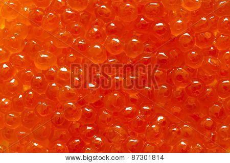 Closeup of red caviar.