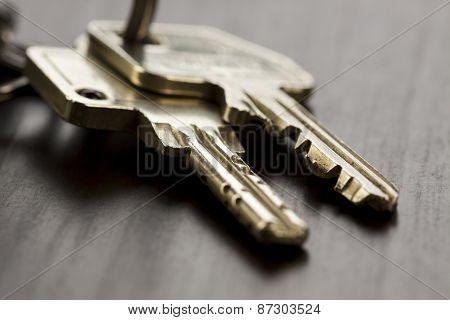 Macro Shot Of Keys On Top Of The Table