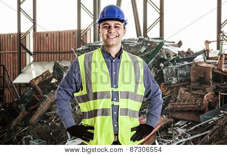 Portrait of a man working in a landfill