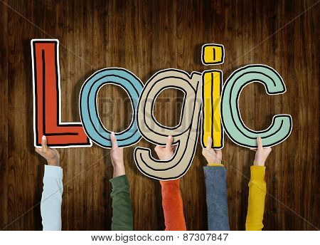 Logic Reason Thought Arms Holding Wooden Wall Concept