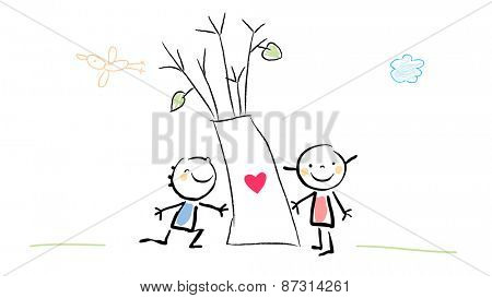 Kids with tree, heart sign. Cute Love concept vector illustration, childhood style drawing. Doodle, sketch.