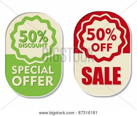 50 Percent Off Discount, Sale And Special Offer, Two Elliptical Labels