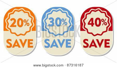 20 30 40 percent off save text banners three elliptic flat design labels business shopping concept poster
