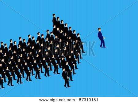A vector illustration of businessmen following the leader in the formation of an arrow shape. A metaphor on teamwork and leadership. poster