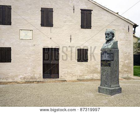 Giuseppe Verdi birth house, detail. Color image