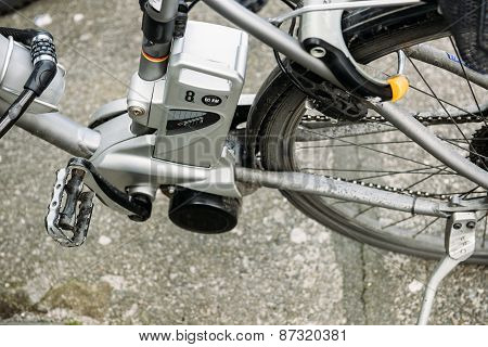 Eectric bicycle motor with mark speed of 60 km per hour poster