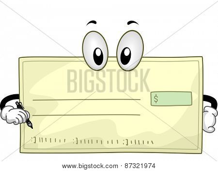 Mascot Illustration of a Blank Check Holding a Pen
