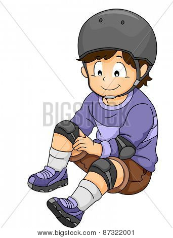 Illustration of a Little Boy Putting on Some Safety Gear
