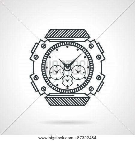 Sport watch black line vector icon