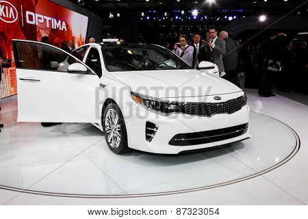 NEW YORK - APRIL 1: KIA exhibit KIA Optima at the 2015 New York International Auto Show during Press day,  public show is running from April 3-12, 2015 in New York, NY.