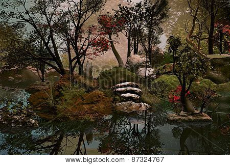 3D illustration of a forest landscape