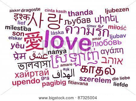 Background concept wordcloud multilanguage international many language illustration of translation love