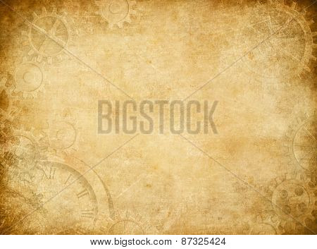 Gears and cogs worn paper background poster